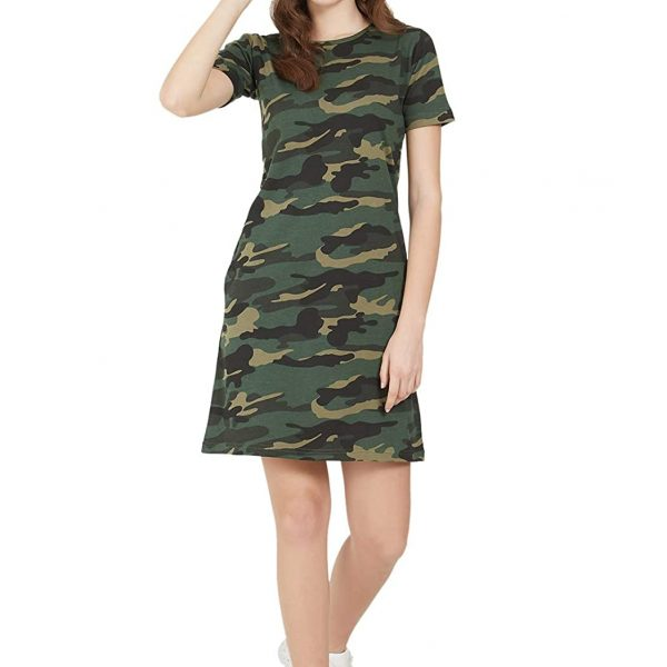 Army Military Camouflage Style, Knee Length Dress for Women Casual T-Shirt Dress