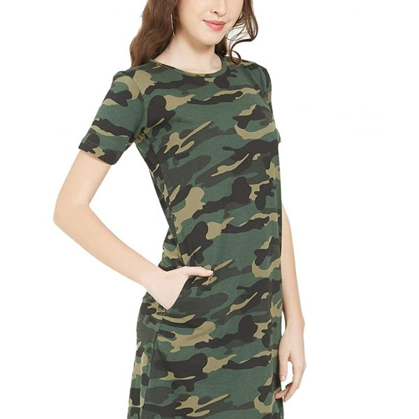 Army Military Camouflage Style Knee Length Dress for Women