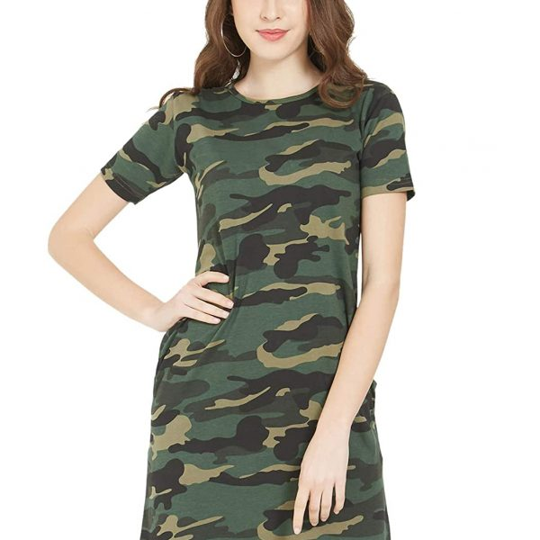 Women's Top, Army Military Camouflage Style, Knee Length Dress for Women, Casual T-Shirt Dress